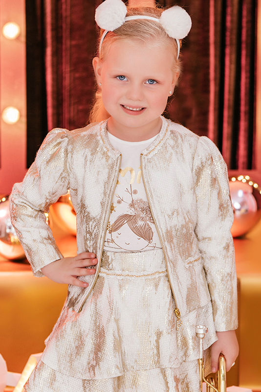 2/6 Years Girl Foil Printed Pear Inlaid Ribbon Detailed With Pockets Ecru Jacket