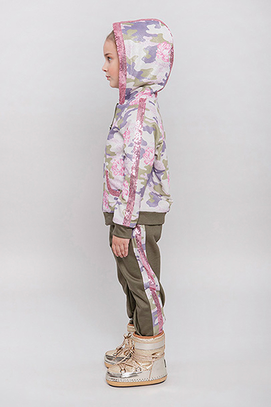 2/6 Years Girl Camouflage Printed With Sequin Ribbon Accessory Green Tracksuit Top