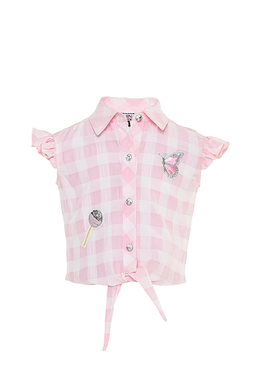 2/6 Years Girl Lacing Detailed Classic Collar Frilly Sleeve Powder Dress