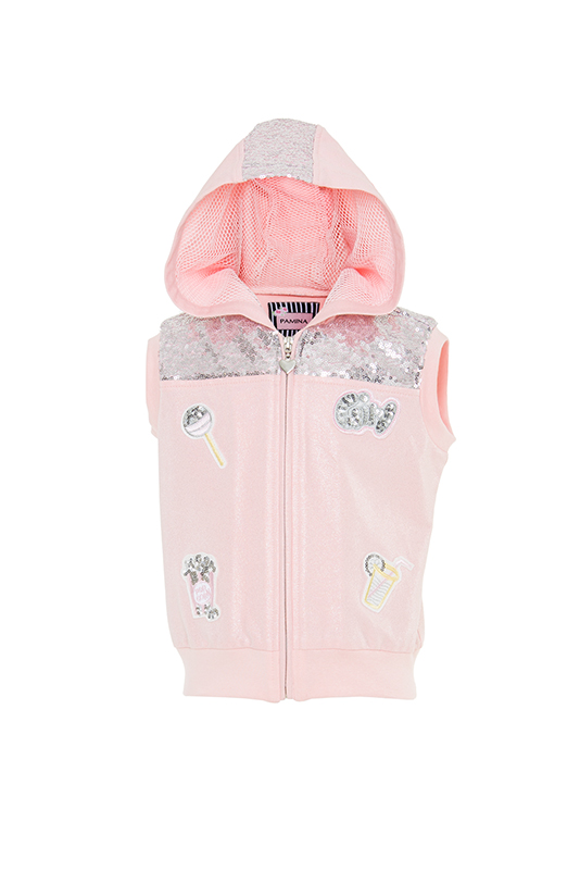 2/6 Years Girl Sequin Fabric Embroidery Hooded Powder Vest