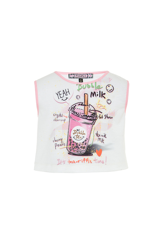 2/6 Years Girl Stone And Digital Printed With Facing Ecru T-Shirt