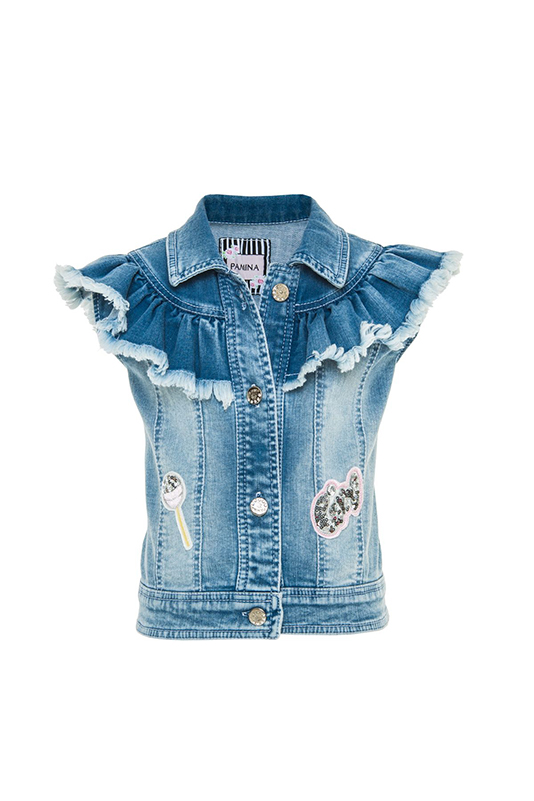 2/6 Years Girl Frill Detailed Navy Denim Vest With Embroidery