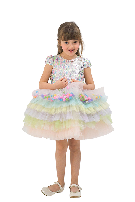 2/6 Years Girl Pompom Detailed Colorful With Tutu Skirt Powder Dress