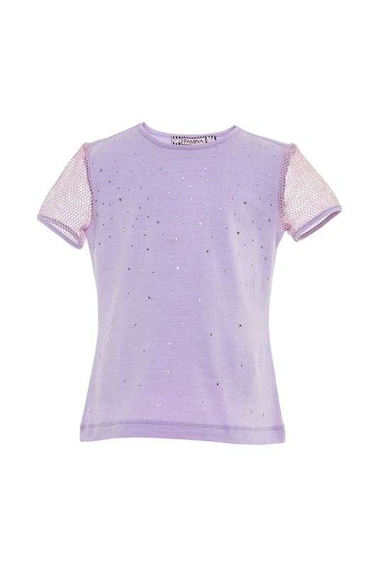 2/6 Years Girl Net Fabric Sleeve Detailed Stone Printed Lilac T-Shirt