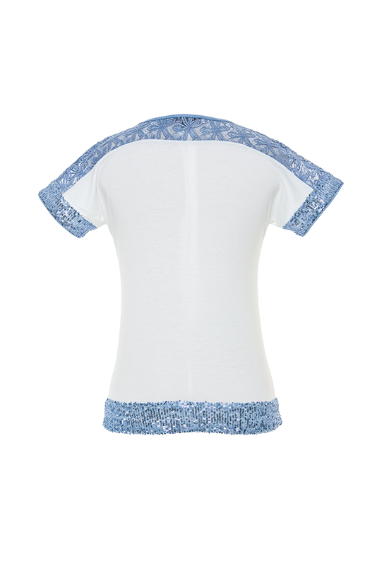 8/12 Years Girl With Lace And Sequin Details And Digital And Stone Printed Ecru T-Shirt