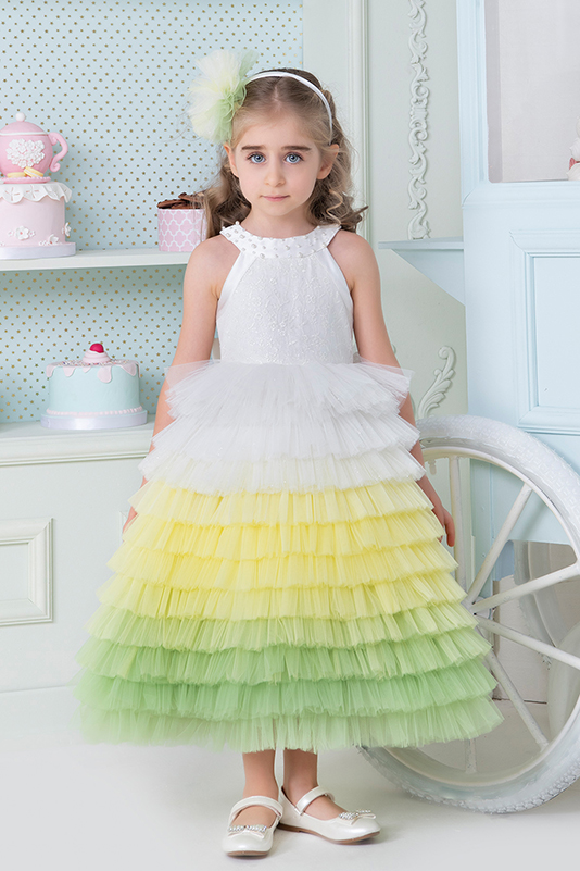 2/6 Years Girl Halter Collar Multilayer Tulle Skirt Lace Deatailed Ecru Dress