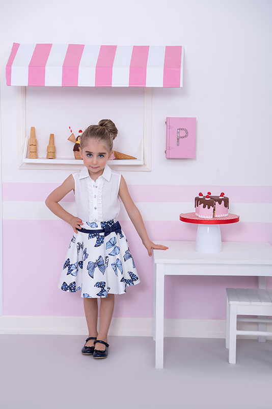 2/6 Years Girl Sleeveless With Stone Buttons Frill Detailed Ecru Shirt