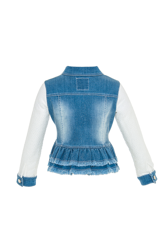 2/6 Years Girl Lace And Denim Combinable Blue Jacket