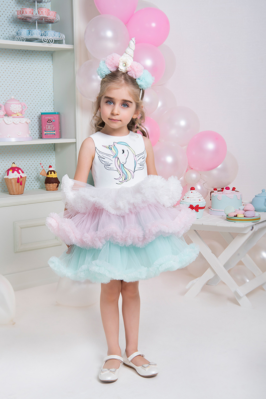 2/6 Years Girl Pink Dress With Unicorn Multilayer Frilled With Tutu Skirt