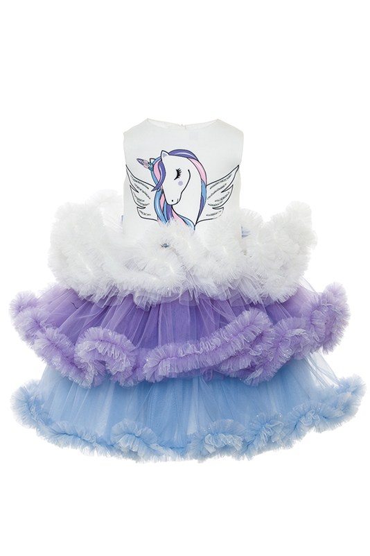 2/6 Years Girl Blue Dress With Unicorn Multilayer Frilled With Tutu Skirt