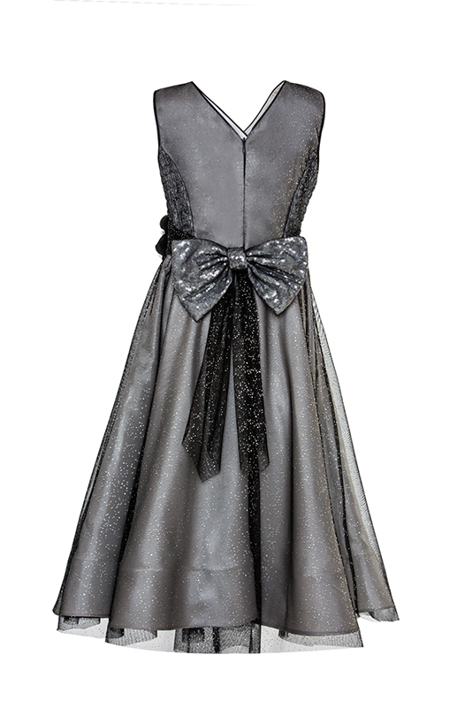 8/12 Years Girl Double Breasted Collar With Silvery Tulle Black Dress