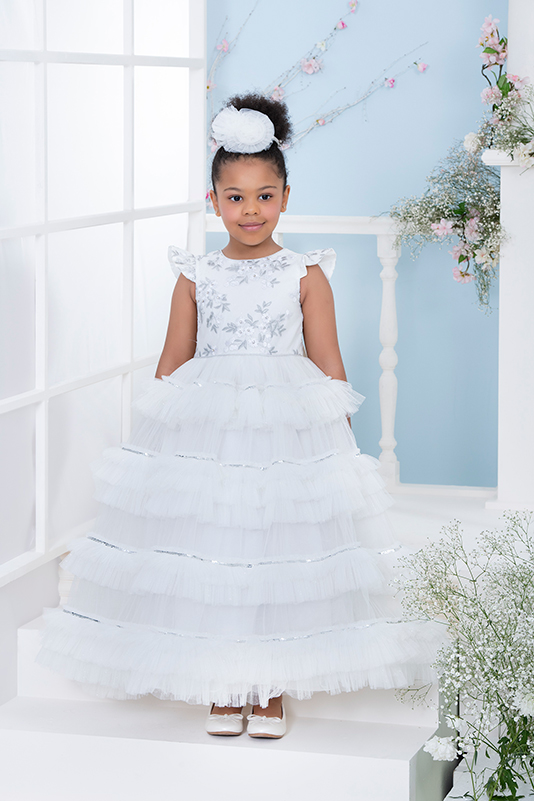 4/8 Years Girl Flower And Leaf Embroidery Tulle Skirt Ecru Dress