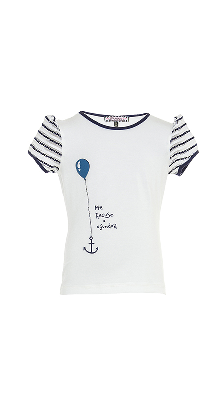 2/6 Years Girl Striped Jacquard Sleeves Digital And Stone Printed Navy T-Shirt