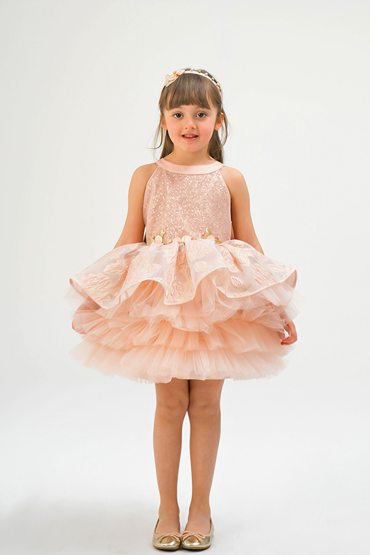 2/6 Years Girl Sequined And Jacquard Patterned Salmon Dress
