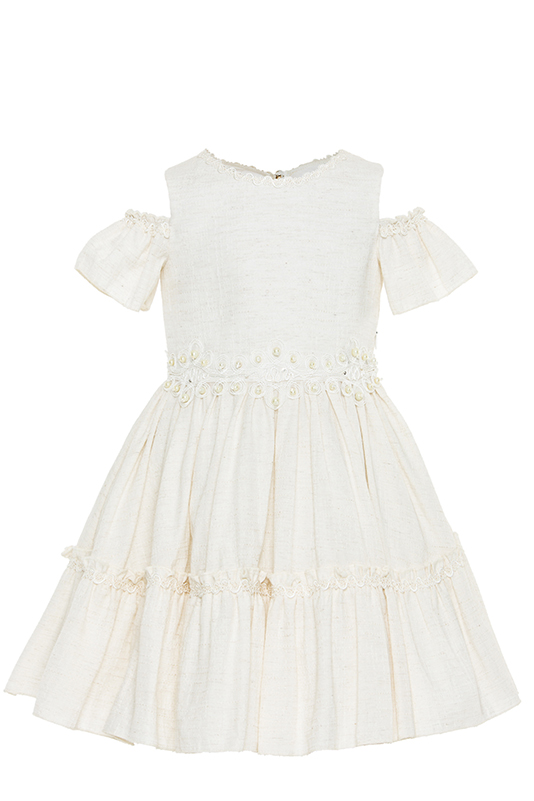 2/6 Years Girl Linen Fabric Lace Ribbon Detailed Off The Shoulder Beige Dress