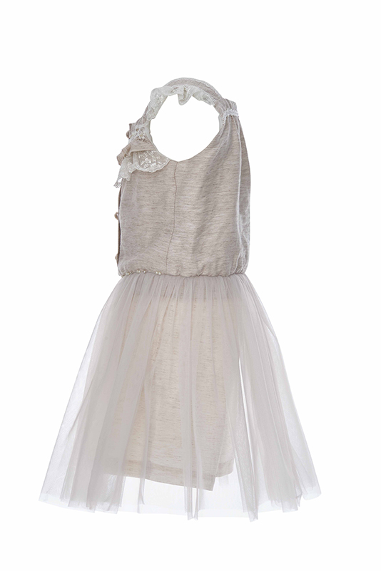 2/6 Years Girl Linen Fabric Beige Overall With Lace Ribbon And Tulle Skirt