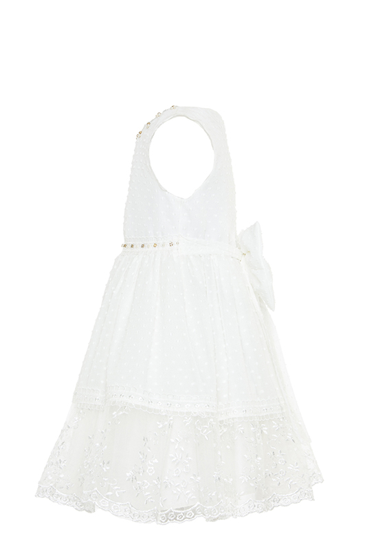2/6 Years Girl With Polka-Dot Cotton Fabric Lace Ribbon Detailed Ecru Dress