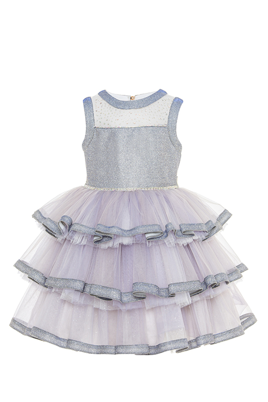 2/6 Years Girl Sivery Fabric Collar Detailed With Stone Printing On Tulle Grey Dress