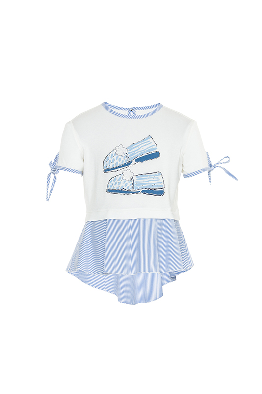 2/6 Years Girl Striped Fabric Detailed Printed With A Waistband Ecru T-Shirt