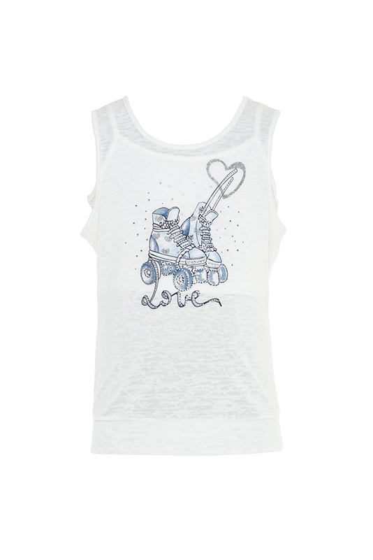 2/6 Years Girl Stone And Digital Printed On Burnout Fabric Ecru Athlete