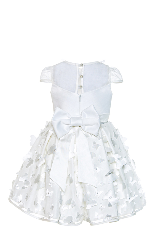 2/6 Years Girl Tulle Ecru Dress With 3D Butterfly