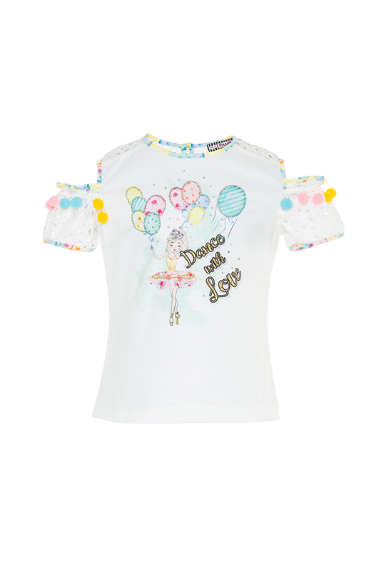 2/6 Years Girl With Windowed Shoulders And Pompoms Printed Ecru T-Shirt