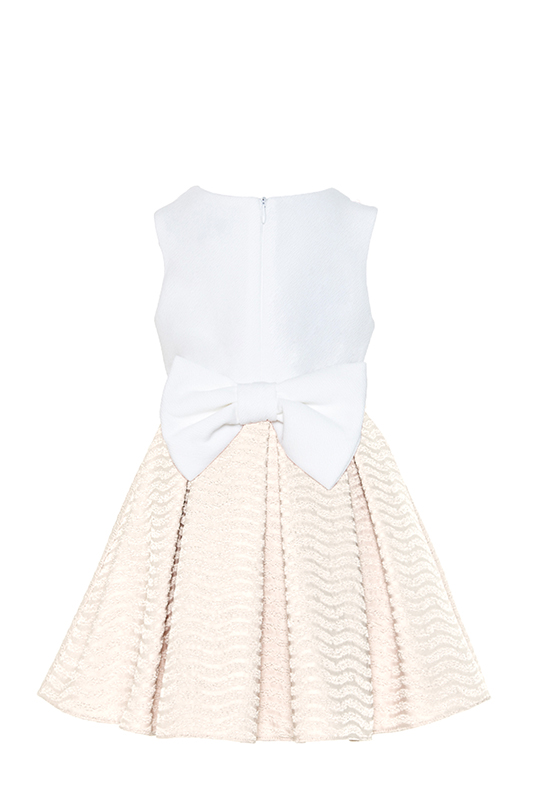 2/6 Years Girl Beige Dress With Striped Jacquard Fabric
