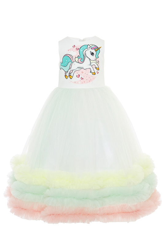 2/6 Years Girl Mint Dress With Unicorn And Multilayer Colorful Flounce