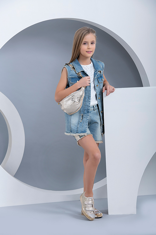 8/12 Years Girl Thorn Detailed With Accessory In The Back Denim Navy Vest
