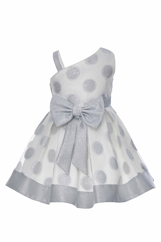 4/8 Years Girl Silvery Polka-Dot Organza Fabric Silver Dress With Single Shoulder Detail