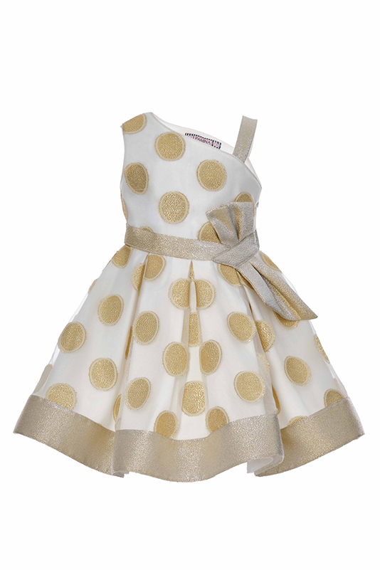 4/8 Years Girl Silvery Polka-Dot Organza Fabric Gold Dress With Single Shoulder Detail