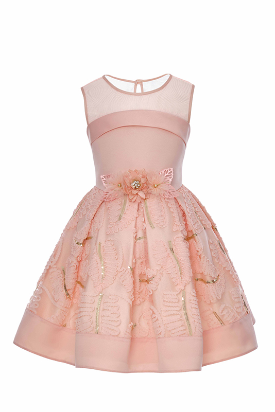 6/10 Years Girl Lace Fabric Detailed Salmon Dress
