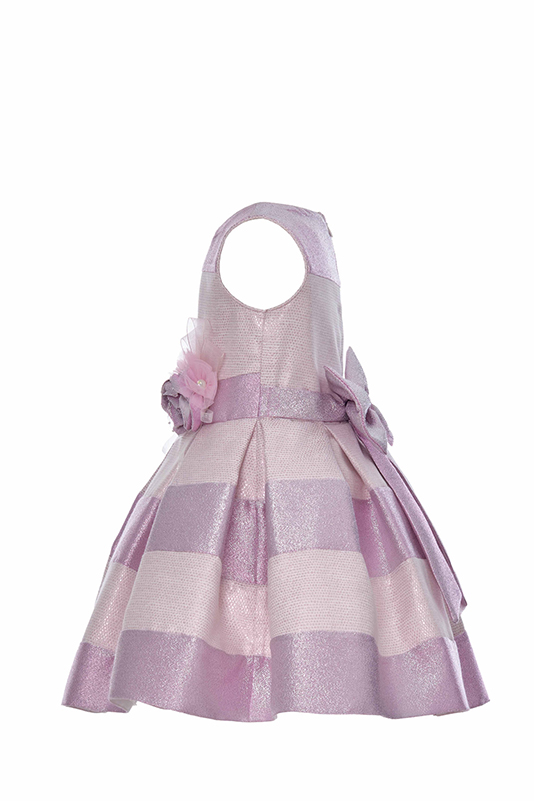 4/8 Years Girl Striped Silvery Jacquard Pink Dress With Honeycomb Texture