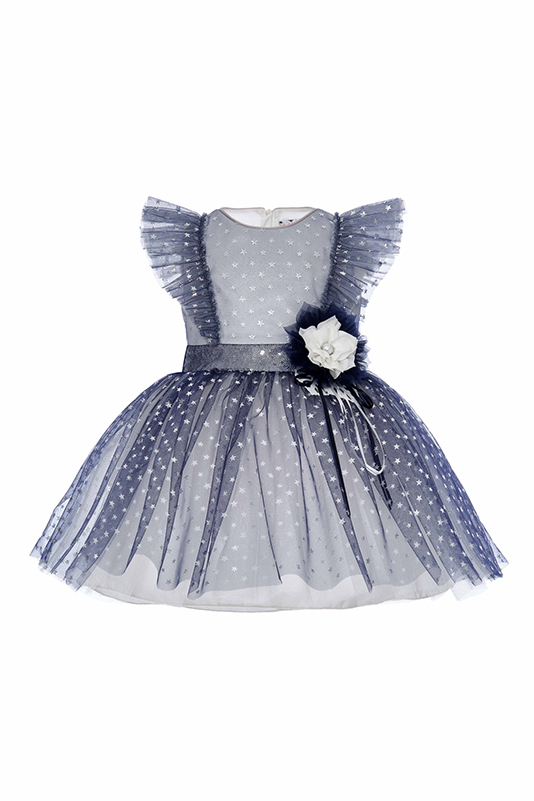 9/36 Months Baby Girl Star Foil Printed Frill Detailed Navy Dress
