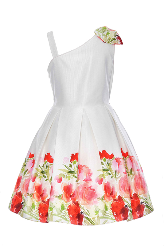 6/10 Years Girl Flower Printed Jacquard Red Dress With Single Shoulder