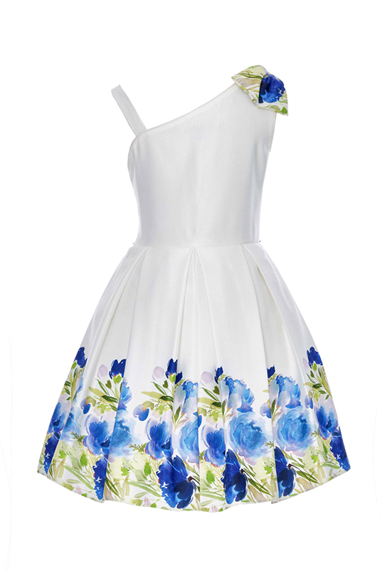 6/10 Years Girl Flower Printed Jacquard Navy Dress With Single Shoulder