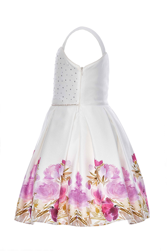 6/10 Years Girl Flower Printed Jacquard Lilac Dress With Single Shoulder