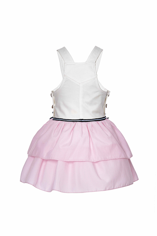 9/36 Months Baby Girl Bib And Brace Overall With Pink Striped Fabric Multilayer Skirt