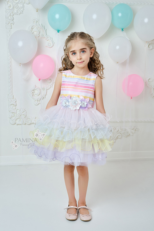 2/6 Years Girl Striped Jacquard Powder Dress With Colorful Multilayer Tulle Skirt