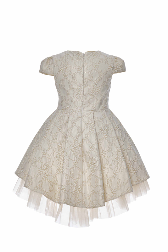 4/8 Years Girl Jacquard Patterned Bowknot Detailed Ecru Dress With Tailed Skirt