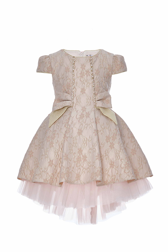 4/8 Years Girl Jacquard Patterned Bowknot Detailed Powder Dress With Tailed Skirt