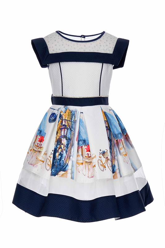 6/10 Years Girl Printed Quilted Fabric Navy Dress With Organza Detail