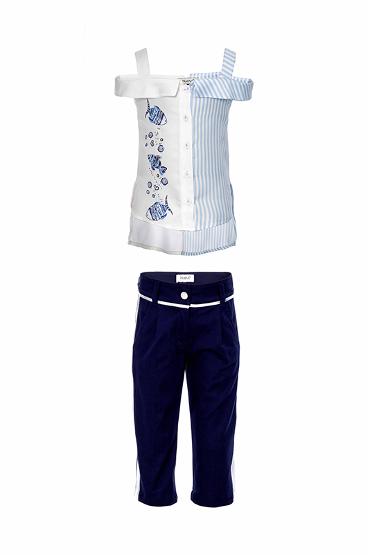 2/6 Years Girl Fish Printed Suit With Blouse And Navy Capri Pants