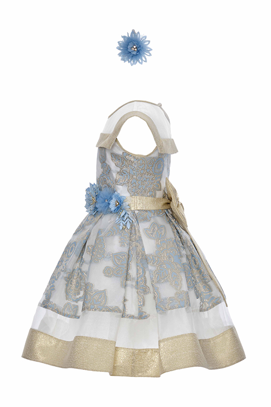 6/10 Years Girl Blue Dress With Woven Organza Fabric