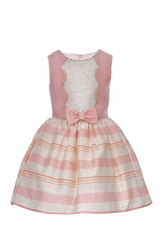 2/6 Years Girl Powder Dress With Striped Linen Fabric And Round Cut Yoke Detail