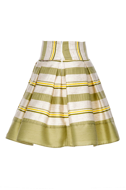 6/10 Years Girl Striped Linen Fabric Suit With Green Skirt And Bustier