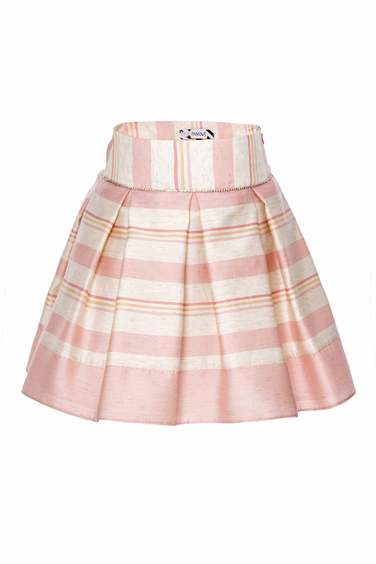 6/10 Years Girl Striped Linen Fabric Suit With Powder Skirt And Bustier