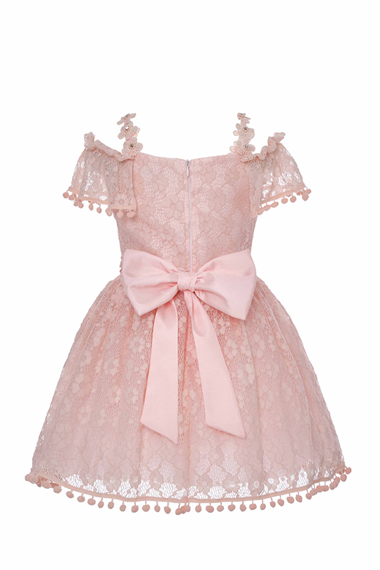 4/8 Years Girl Low Shoulder Pompom And Lace Ribbon Detailed Powder Dress