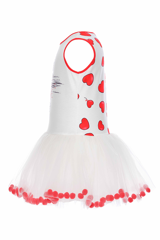 2/6 Years Girl Red Dress With Pompoms And Tulle Balloon Skirt
