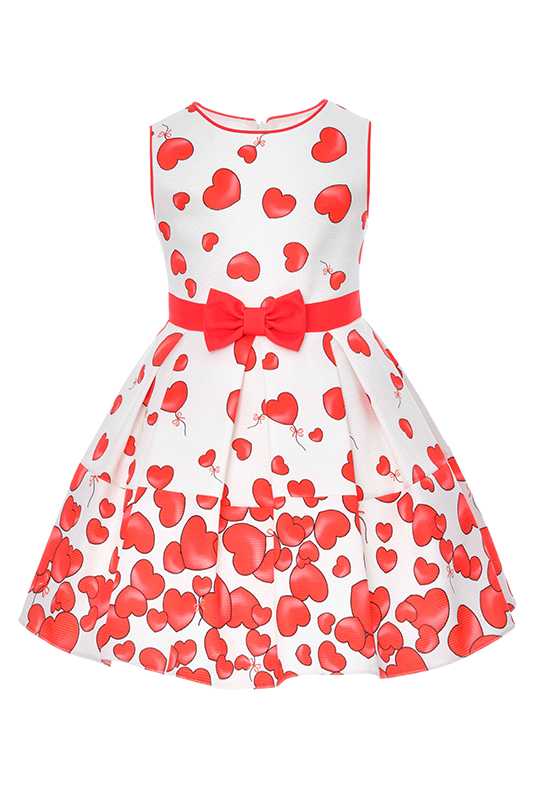 2/6 Years Girl Heart Patterned Bowknot Detailed Red Dress
